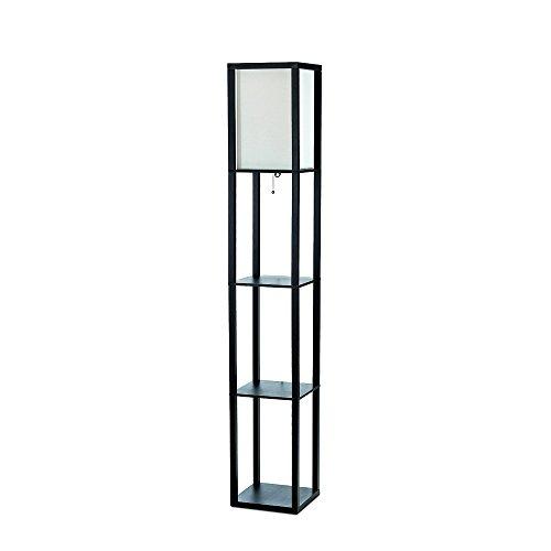 Simple Designs LF1014-BLK Floor Lamp Etagere Organizer Storage Shelf with Linen Shade Black