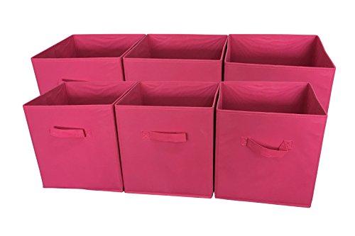 SodyneeFoldable Cloth Storage Cube Basket Bins Organizer Containers Drawers 6 Pack Fuchsia