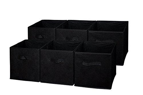 Sodynee SCB6BL Cloth Storage Cube Basket Bins Organizer 6 Pack Black