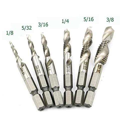HUAZHICHUN 6Pcs Drill Tap Combination Bit Set 14 Hex Shank High Speed Steel Drill Bit Spiral Screw Thread Taps Drill Bits Set HSS 4341 Counter sink
