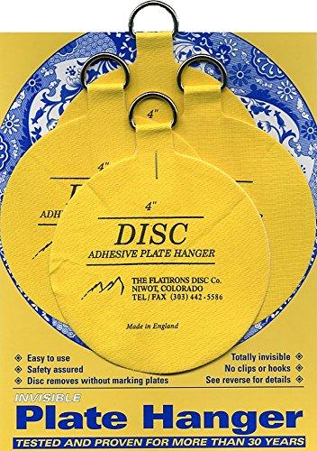 Flatirons Disc Adhesive Large Plate Hanger Set 4 - 4 Inch Hangers