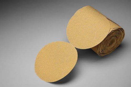 3M Stikit Gold Paper Disc Roll 216U PSA Attachment Aluminum Oxide 6 Diameter P180 Grit Roll of 175