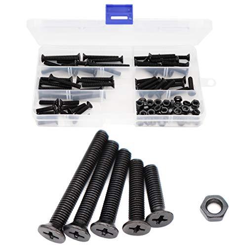 binifiMux 100pcs Flat Phillips Head Black M5 x 20mm 25mm 30mm 35mm 40mm Countersunk Machine Screws Hex Nuts Assortment Kit