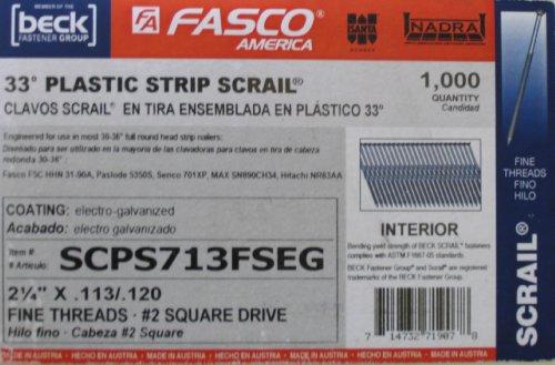 Fasco SCPS713FSEG Scrail Fastener  Fine Thread 30-33-Degree Plastic Strip Electro-Galvanized Square Drive 225-Inch x 113-Inch 1000 Per Box