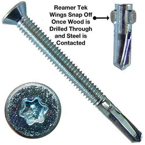 14x2-34 Reamer Tek TorxStar Head Self-Drilling Wood to Metal Screws - 5 Pound ~170 Tek Screws - Tek Screws for Flatbeds Trailers or where Fastening Wood to Steel - T-25 Torx Screw Head