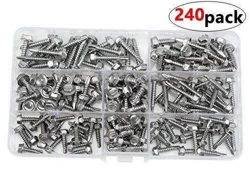 WMYCONGCONG 240 PCS Stainless Steel 810 Hex Washer Head Self Drilling Sheet Metal Tek Screws Assorted Kit Hex Head