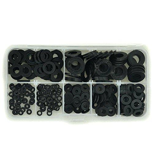 Electronics-Salon Black Nylon Flat Washer Assortment Kit for M2 M25 M3 M4 M5 M6 M8 ScrewBolt