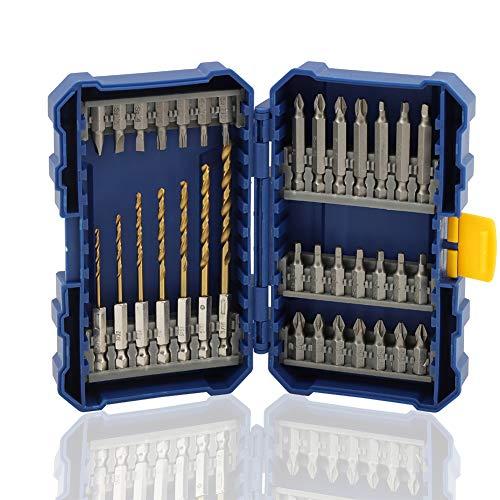 COMOWARE Screwdriver Bit Set with Titanium Drill Bits - Quick Release Bit Holder with Tough Case Total 35pcs
