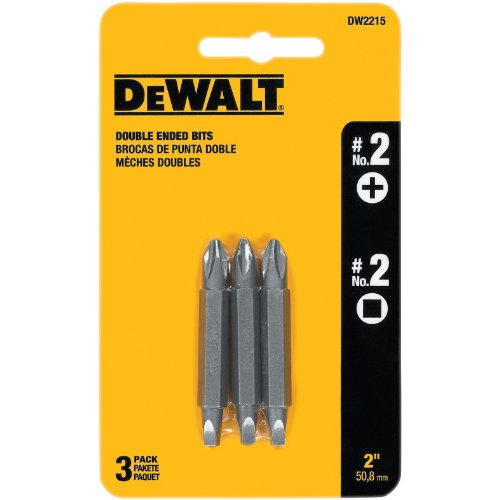 DEWALT DW2215 2 Phillips and 2 Square Recess Double Ended Screwdriver Bit 3-Pack