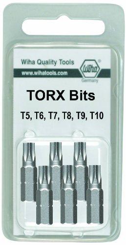 Wiha 71571 T15 to T40 Torx Insert Bit 6-Pack