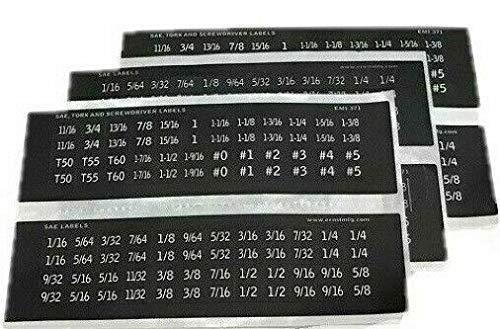 APTErnst 288-3 Sets 96ea total of 288 Fractional SAE  MetricTorx Socket ID Stickers
