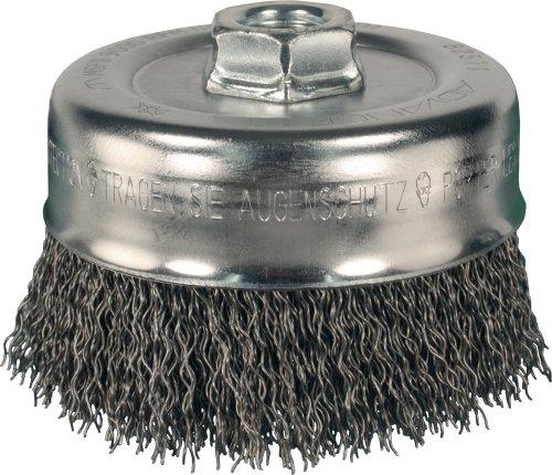 PFERD 82515 Power Crimped Cup Wire Brush Threaded Hole Carbon Steel Bristles 5 Diameter 0020 Wire Size 58-11 Thread 8000 Maximum RPM