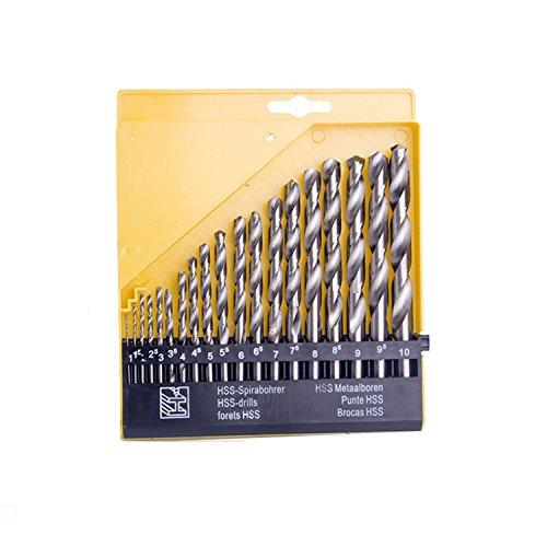 eoocvt 19pcs Twist High Speed Steel Drill Set Drilling Bit Metal Metric Tool 1mm to 10mm