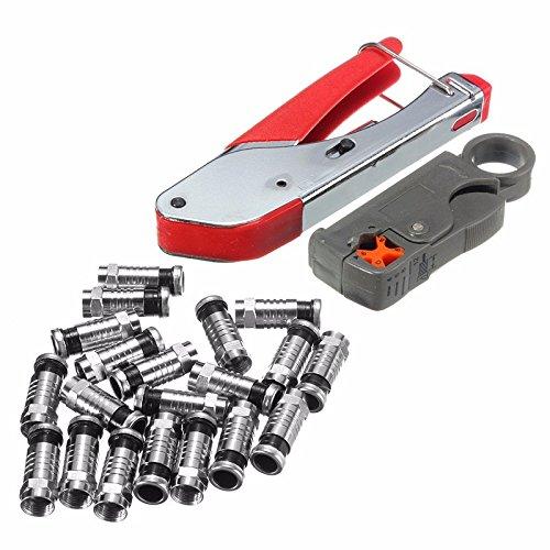 BephaMart Universal Compression Tool Stripper F RCA BNC RG6 Connector Cable Coax Crimper