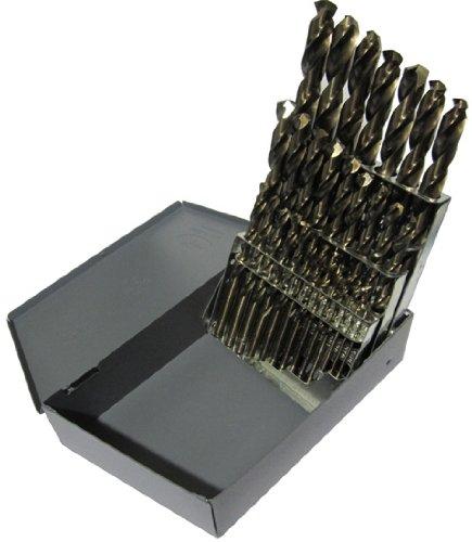 Drill America DA29S-CO-SET 29 Piece Cobalt Steel Screw Machine Length Drill Bit Set in Metal Case Gold Oxide Finish Round Shank Spiral Flute 135 Degrees Split Point Pack of 1