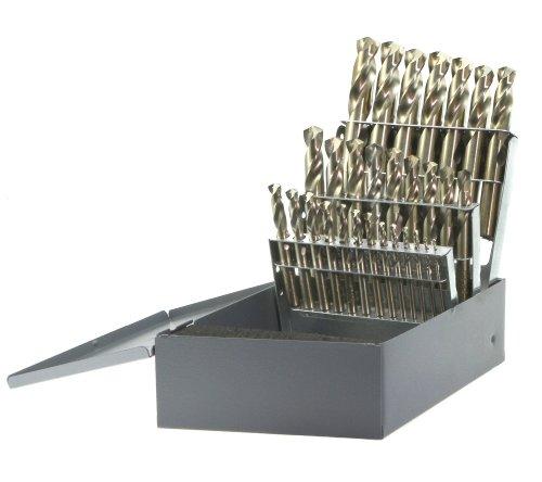 Drillco 300C Series 29 Piece Cobalt Steel Screw Machine Length Drill Bit Set Bronze Finish Round Shank Spiral Flute 135 Degrees Split Point 116 - 12 in 164 increments