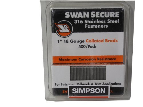 Simpson Swan Secure T18N100FNB 18-Gauge 316 Stainless Steel 1-Inch Brad Nails 500 Per Box by Simpson Swan Secure
