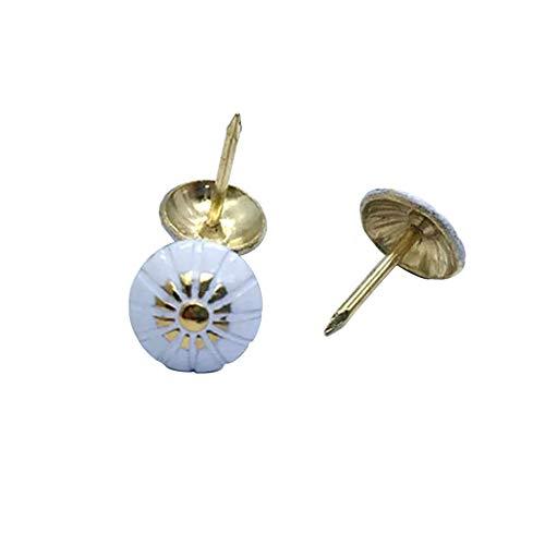 100 Pieces Iron Antique Push Pin Upholstery Nails Tacks Vintage Thumb Tack White Flower Nail