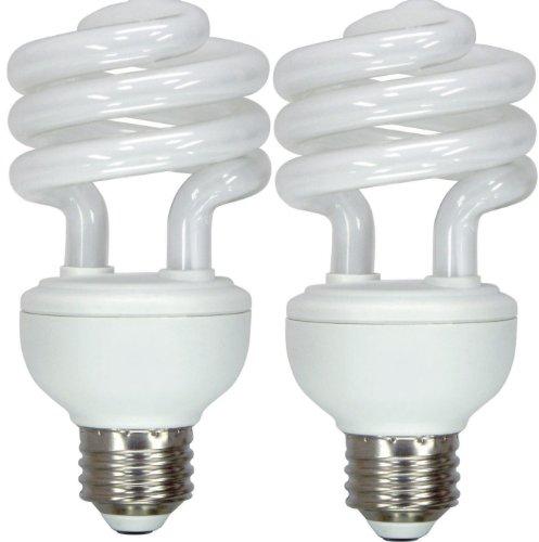 GE Lighting 15518 Energy Smart Spiral CFL 20-Watt 75-watt replacement 1250-Lumen T3 Spiral Light Bulb with Medium Base 2-Pack