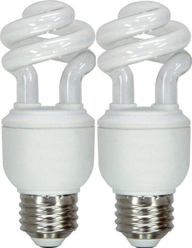 GE Lighting 49907 Energy Smart Spiral CFL 10-Watt 40-watt replacement 550-Lumen T3 Spiral Light Bulb with Medium Base 2-Pack