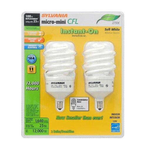 SYLVANIA 2-Pack 23-Watt 100W Spiral Candelabra Base Soft White 2700K CFL Bulbs Item89927 Model26904 UPC 046135269066