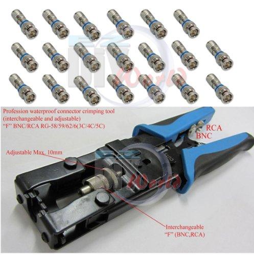 Ezdiyworld-Coax Compression Connector Adjustable Tool for RG59 RG6 F BNC RCA20pcs compression connector