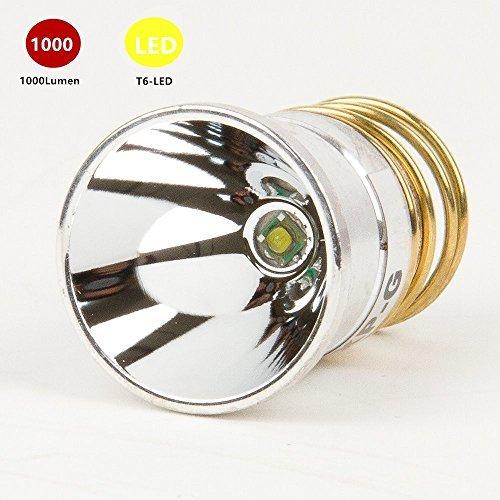 Flashlight Bulb LED 1000 Lumens Smooth Reflector T6 Single Mode 30-18V Flashlight Replacement LED Bulbs for Surefire Hugsby C2 Z2 6P 9P G3 S3 D2 WF501B WF502B