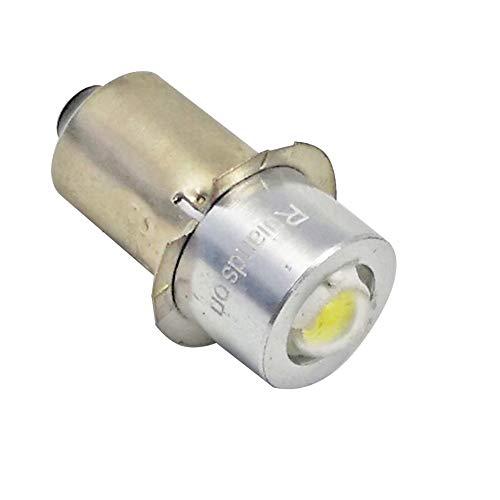 Ruiandsion 2pcs P135S 1W LED Upgrade Flashlights Bulb for DC 3-18V Torch Headlight Flashlight 150 Lumens White 6000K Negative earth White