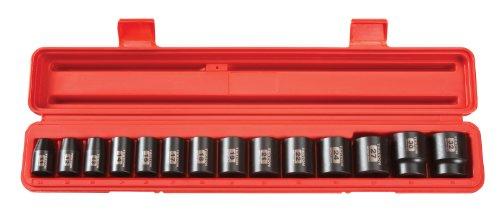 TEKTON 4817 12-Inch Drive Shallow Impact Socket Set Metric Cr-V 6-Point 11 mm - 32 mm 14-Sockets
