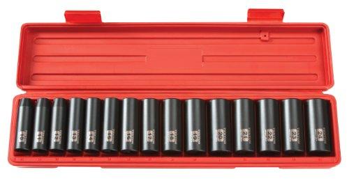 TEKTON 4883 12-Inch Drive Deep Impact Socket Set Metric Cr-V 6-Point 10 mm - 24 mm 15-Sockets