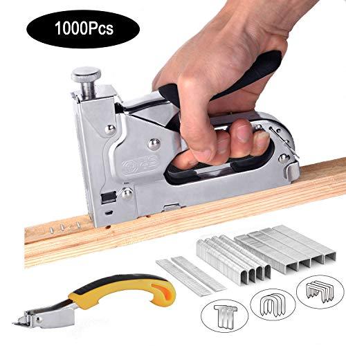 3-in-1 Staple Gun with RemoverNail Puller Upholstery Stapler Heavy Duty Tacker Stainless Steel Brad Nail Gun for Fixing Material Carpentry FurnitureDoors And Windows1000 Staples Sliver