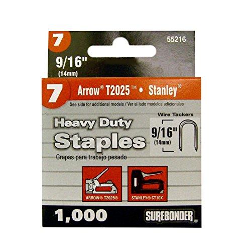 Surebonder 552165A Heavy Duty Round Crown Divergent 916 Arrow T25 Type Cable Tacker Staple