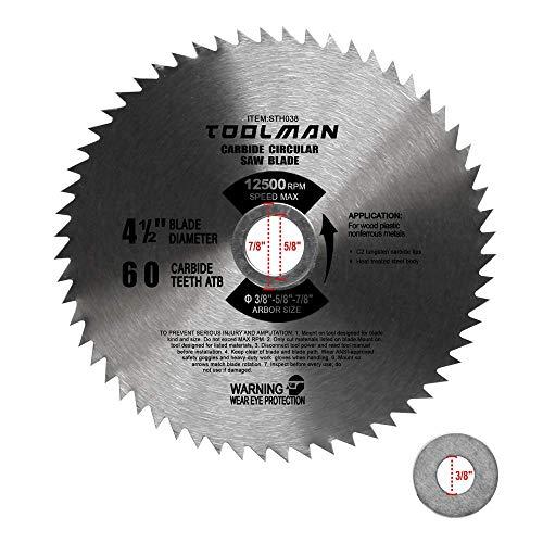 Toolman 4-12 60T Carbide Circular Saw Blade 12500RPM for cutting wood plastic nonferrous metal STH038