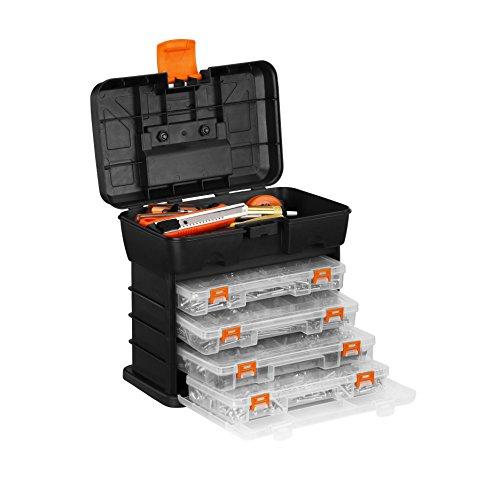 VonHaus Utility Tool Storage Box - Portable Arts Crafts Organizer Case with 4 Drawers Adjustable Dividers 109 x 101 x 69 inches - Black Orange