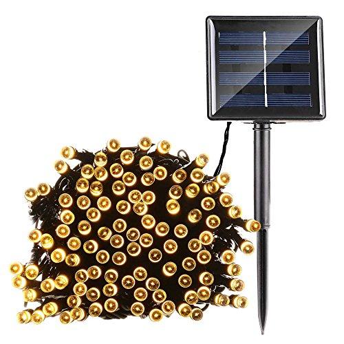 Qedertek Solar String Lights 72ft 200 LED Fairy Lights 8 Modes Ambiance Lighting for Outdoor Patio Lawn Landscape Fairy Garden Home Wedding Waterproof Warm White