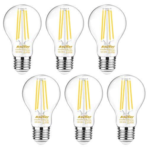 Ascher 60 Watt Equivalent E26 LED Filament Light Bulbs Daylight White 4000K Non-Dimmable Classic Clear Glass A19 LED Light Bulb6-Pack