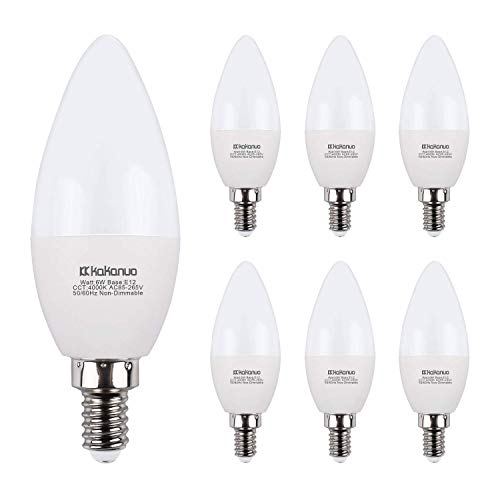 Candelabra LED Bulbs E12 LED Bulb 60W Equivalent Chandelier Bulbs 4000K 6-Pack