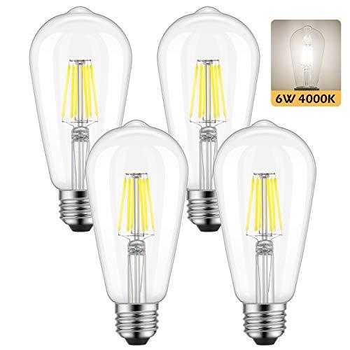 Dimmable Edison LED Bulb Daylight White 4000K Kohree 6W Vintage LED Filament Light Bulb 60W Equivalent E26 Base Lamp for RestaurantHomeReading Room 4 PackDaylight White NOT SoftWarm White