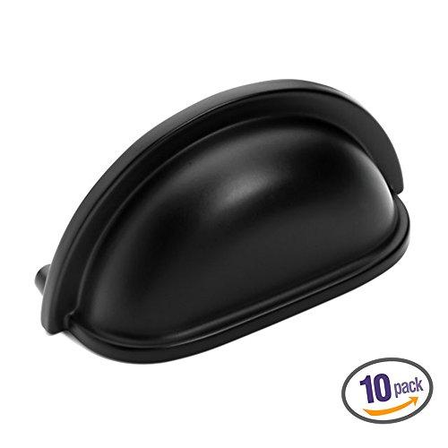 Dynasty Hardware P-2769-FB-10PK Flat Black Cabinet Hardware Bin Pull 10-Pack