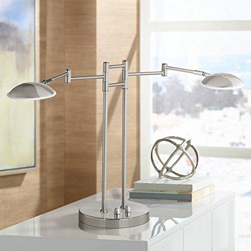 Journey Modern Swing Arm Desk Table Lamp 2 Light LED Satin Nickel Swivel Head Dimmer Switch for Reading Bedroom Bedside Nightstand Office - Possini Euro Design