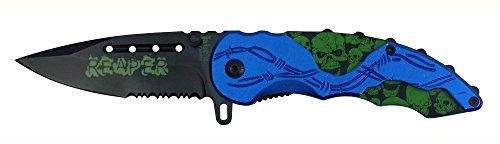 Biker Skull Zombie Knife - Assisted Opening Pocket Knife w Belt Clip - Blue Knife - Green Skulls- Barb Wire - Black Serrated Blade Saw - STRONG SPRING ASSISTED BLADE