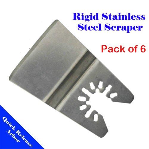 MTP Tm Pack of 6 Ridgid Scraper Stainless Steel Oscillating Multi Tool Saw Blade for Fein Multimaster Bosch Multi-x Craftsman Nextec Dremel Multi-max Ridgid Dremel Chicago Proformax Blades