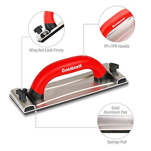 Goldblatt Drywall Sanding Block Hand Sander with Handle Sandpaper Holder Tool for Wood Drywall Metal Auto Body Polishing