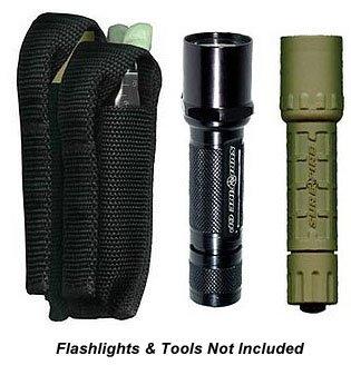 Ripoffs 3 Pocket Combo Holster - Flashlight Multi-tool Utility Pocket CO75 Side Clip