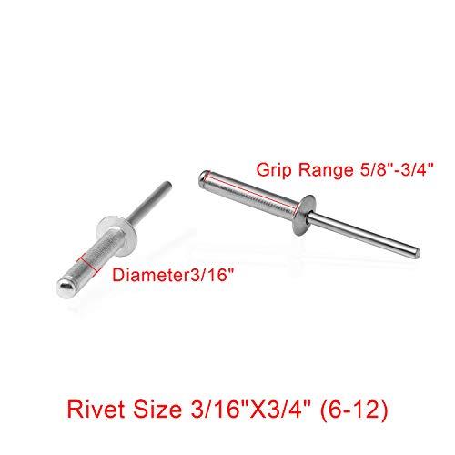 Aluminum Blind rivet316Diameter34Max Grip6-12100PACK