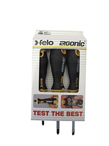Felo 0715757521 Ergonomic Screwdriver Set includes Slotted Phillips Sizes 3 Piece