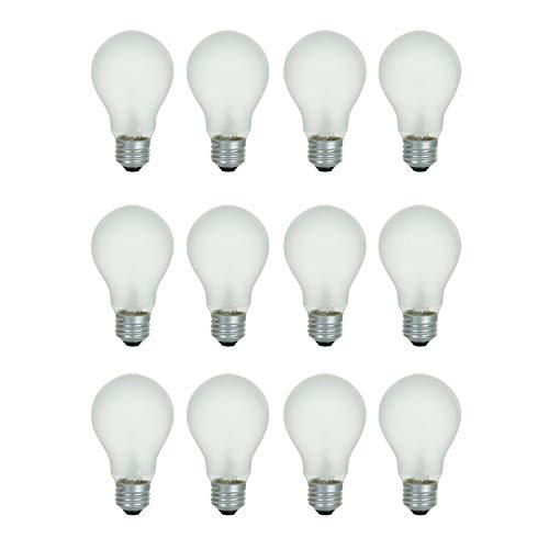 A19 Frosted Incandescent Rough Service Light Bulb 60 Watt 2700K Soft White E26 Medium Base 550 Lumens 130V 12 Pack