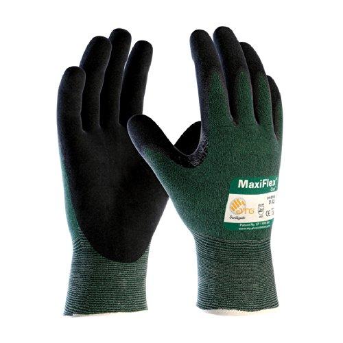 PIP ATG 34-8743M Medium MaxiFlex Cut Green Engineered Yarn Black Gloves 3-Pack
