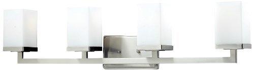 Z-Lite 1900-4V Tidal Four Light Vanity Light Metal Frame Brushed Nickel Finish and Matte Opal Shade of Glass Material