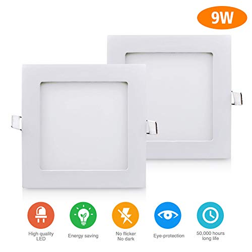 2 Pack 9W 5-inch LED Recessed Downlight 720LM LED Ceiling Lamp CRI90 LED Ceiling Light Flush Mount Warm White 3000K for Home Office Hotel Panel Bathroom Kitchen No Flicker 45pcs led Beads